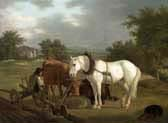 rural landscape with a ploughman resting with his animals