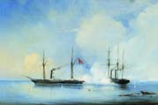 battle of the vladimir frigate with a turkish-egyptian ship