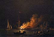 Ship on Fire at Night
