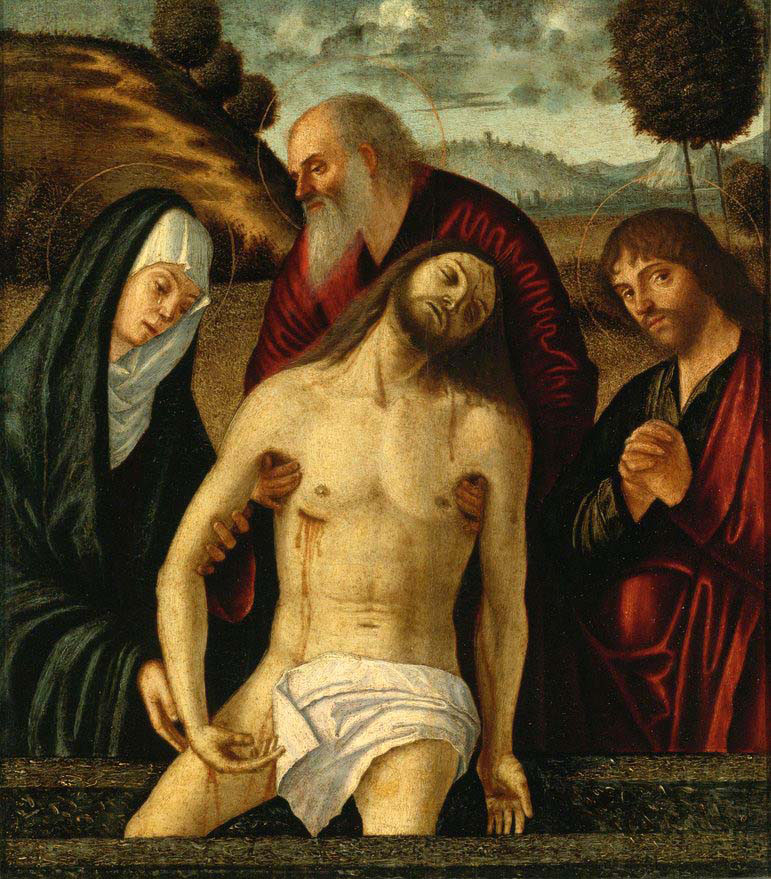 the lamentation with the madonna and saints joseph of arimathea and john the evangelist
