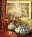 an opulent floral still life before a print of botticelli s birth of venus