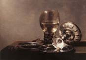 still life with wine glass and silver bowl