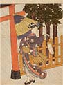 Woman Visiting the Shrine in the Night