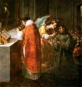 saint bonaventura receiving the host from the hands of an angel