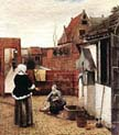 Woman and maid in Courtyard