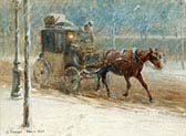 Snowy Boulevard with Horse-drawn Cab