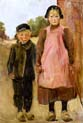 boy and girl on a village road