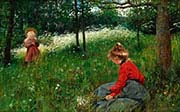 Girls in Jamtlandsk Summer Meadow