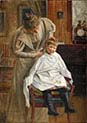 Mother Cutting the Hair