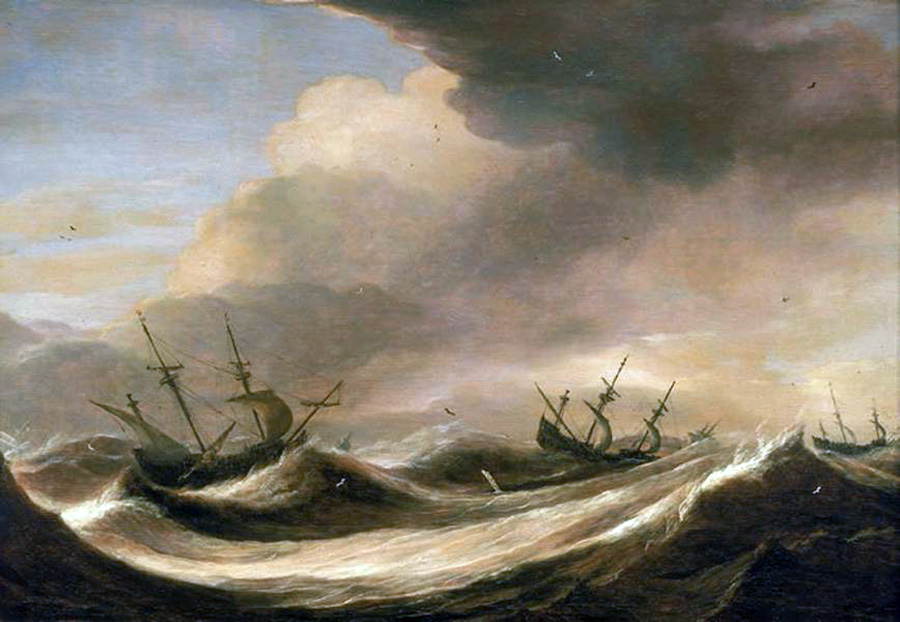 ships in a heavy sea running before a storm