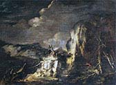 Rocky Landscape with a Huntsman and Warriors
