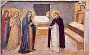 scenes from the legend of saint peter the martyr the virgin appears to the saint