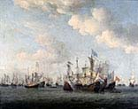 Naval Battle Between Dutch and French Merchant Ships