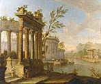 A Capriccio Landscape with Figures and Classical Ruins by a River