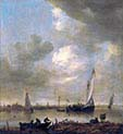 A River Estuary with-Smalschips-Fishermen and Cattle Watering