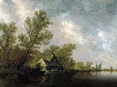 River Landscape with Ferry and Cottages